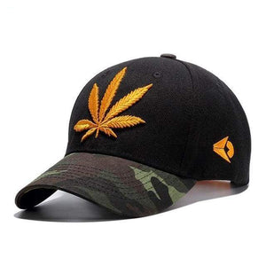 Leaf Embroidered Sports Cap - Yellow