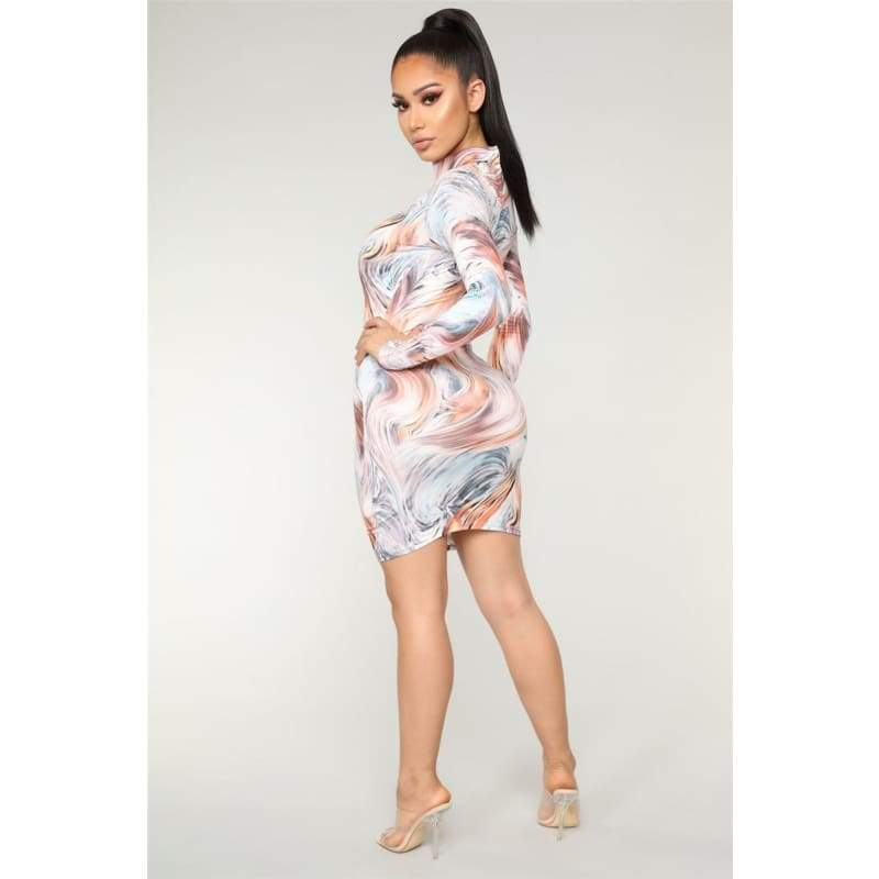 Long Sleeve Sexy Print Bodycon Dress