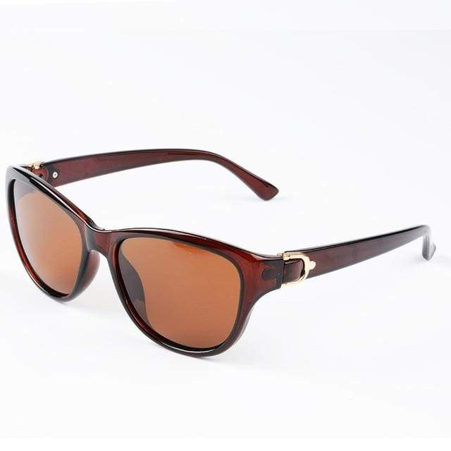 Luxury Cat Eye Polarized Sunglasses - Brown Brown
