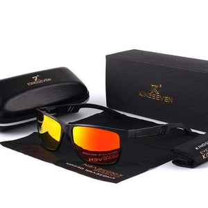Mens Aluminum Polarized Sunglasses with Gift Leather Box - Black Red