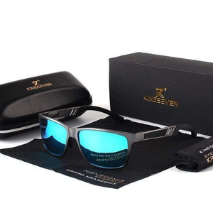 Mens Aluminum Polarized Sunglasses with Gift Leather Box - Gray Blue