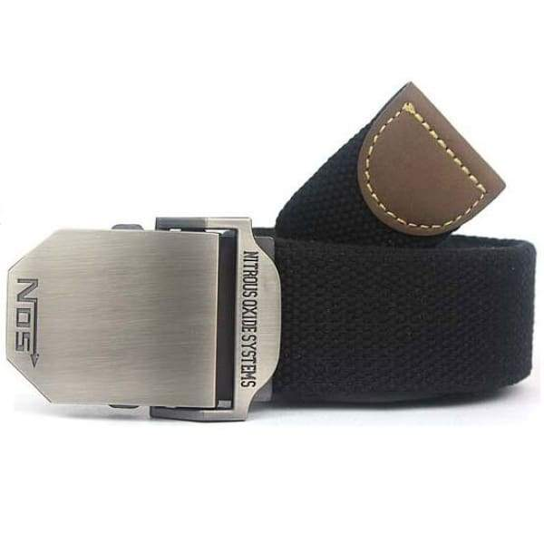 Mens Canvas Military Belt - Black / 110cm