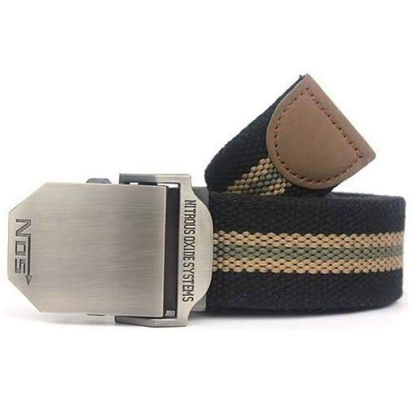 Mens Canvas Military Belt - Black stripes / 110cm