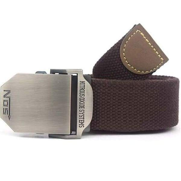 Mens Canvas Military Belt - Coffee / 110cm