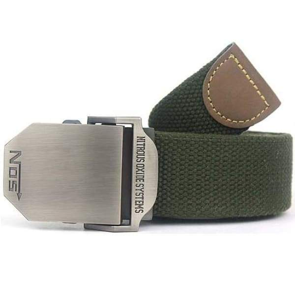 Mens Canvas Military Belt - Green / 110cm