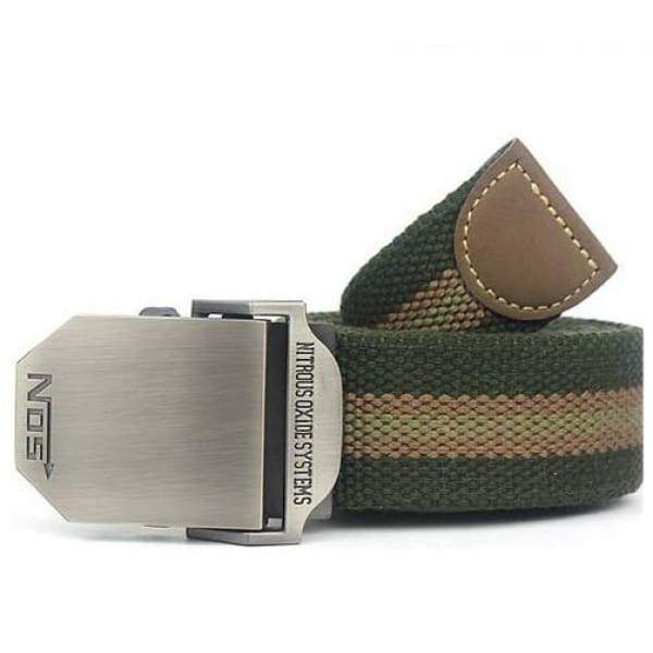 Mens Canvas Military Belt - Green Stripes / 110cm