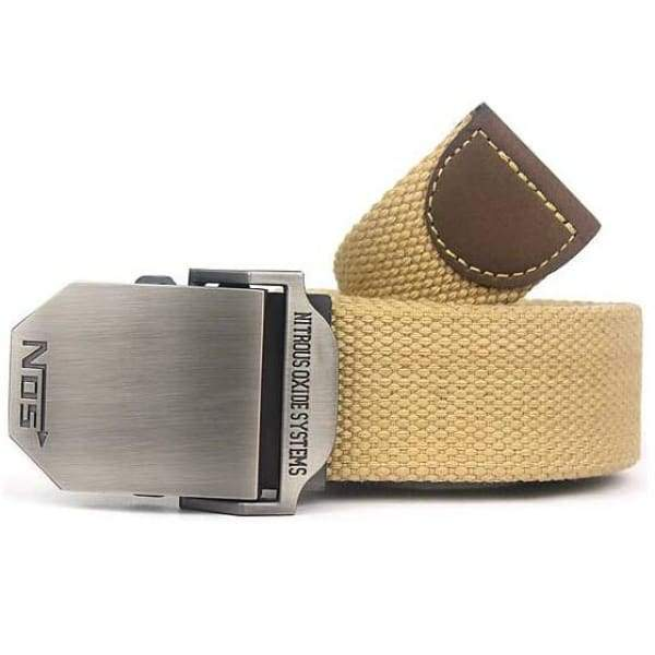 Mens Canvas Military Belt - Khaki / 110cm
