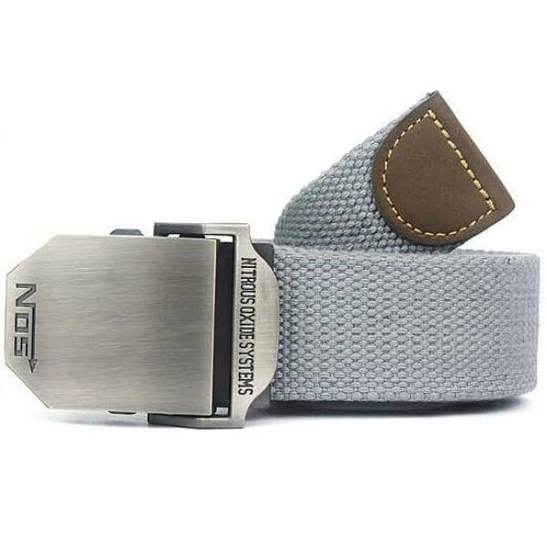 Mens Canvas Military Belt - Light Gray / 110cm