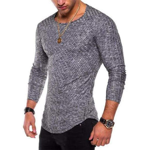 Mens Casual Slim Fit Polyester Long Sleeve Pleated Muscle T-shirt - Black / S