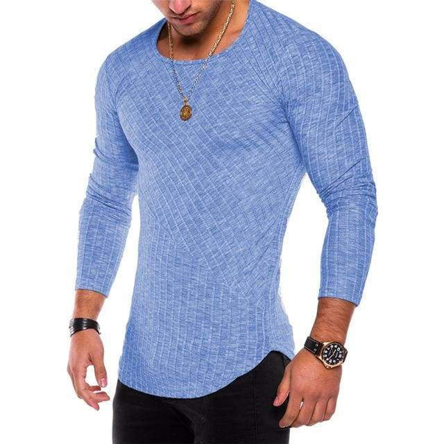 Mens Casual Slim Fit Polyester Long Sleeve Pleated Muscle T-shirt - Blue / S