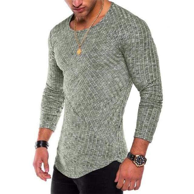 Mens Casual Slim Fit Polyester Long Sleeve Pleated Muscle T-shirt - Green / S