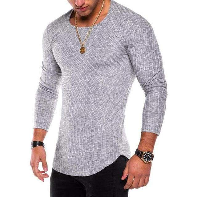 Mens Casual Slim Fit Polyester Long Sleeve Pleated Muscle T-shirt - Grey / S