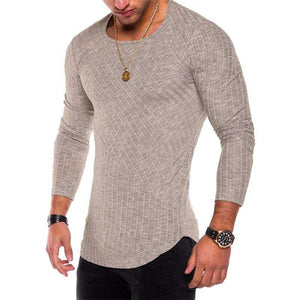 Mens Casual Slim Fit Polyester Long Sleeve Pleated Muscle T-shirt - Khaki / S