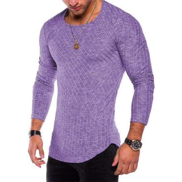 Mens Casual Slim Fit Polyester Long Sleeve Pleated Muscle T-shirt - Purple / S