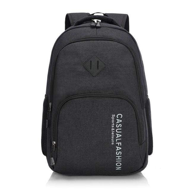 Mens Fashion Canvas Laptop Backpack - black