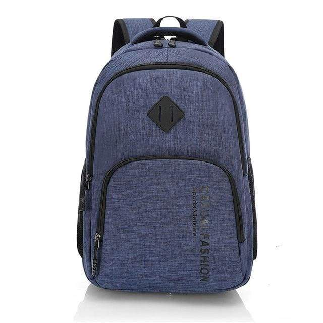 Mens Fashion Canvas Laptop Backpack - blue