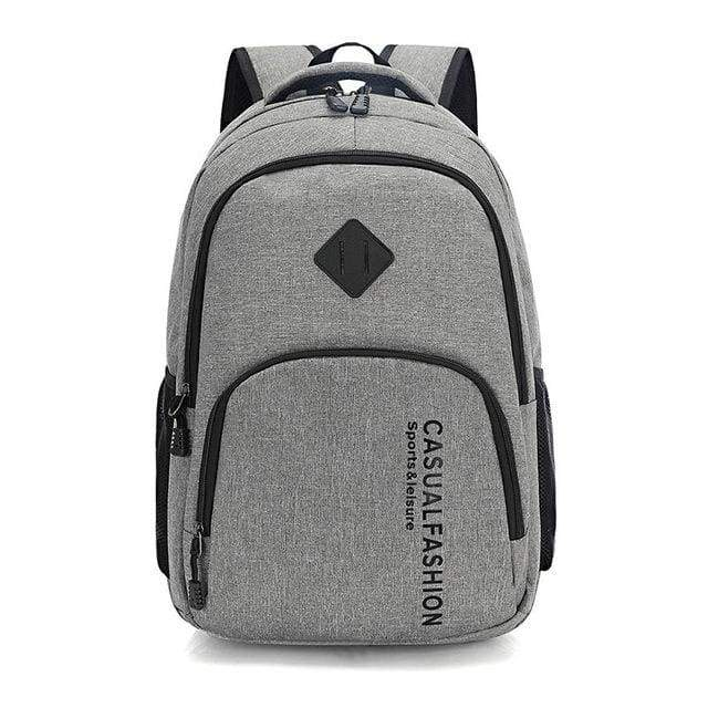 Mens Fashion Canvas Laptop Backpack - gray