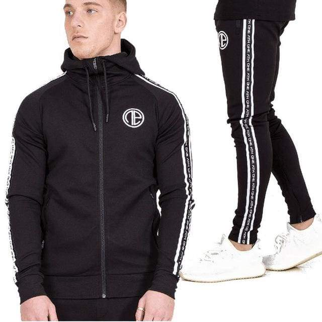 Mens Fashion Sportswear Tracksuits - black / M