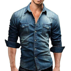 Mens Long Sleeve Solid Color Casual Denim Slim Fit Dress Shirt - Blue / XS