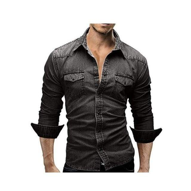 Mens Long Sleeve Solid Color Casual Denim Slim Fit Dress Shirt - Dark Grey / XS
