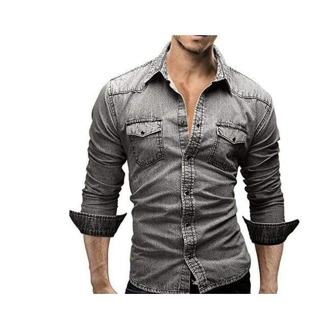 Mens Long Sleeve Solid Color Casual Denim Slim Fit Dress Shirt - Gray / XS