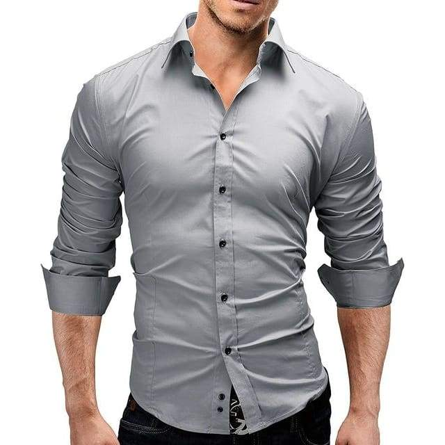 Mens Long-Sleeves Solid Color Slim Casual Dress Shirt - Gray / XS