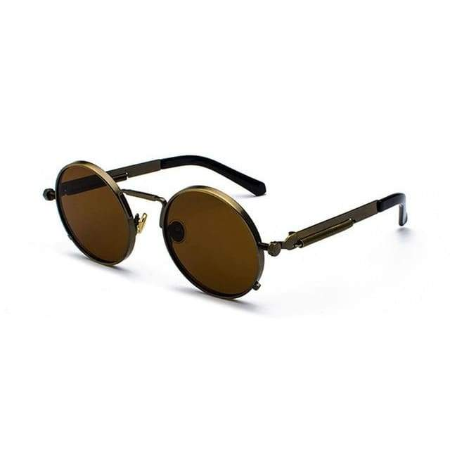 Metal Frame Retro Vintage Steampunk Sunglasses - brown / as show in photo