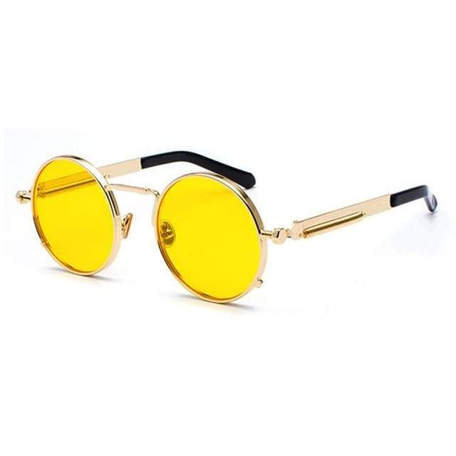 Metal Frame Retro Vintage Steampunk Sunglasses - clear yellow / as show in photo