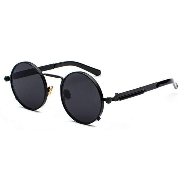 Metal Frame Retro Vintage Steampunk Sunglasses - full black / as show in photo