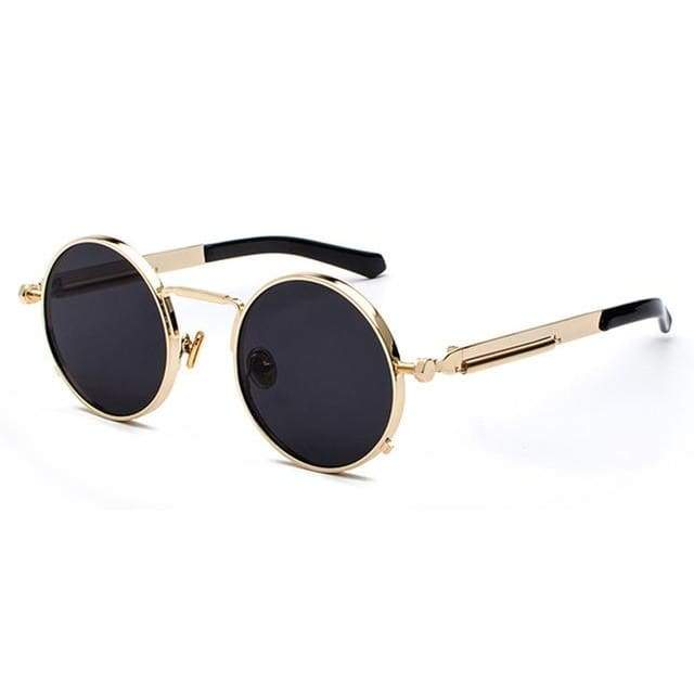 Metal Frame Retro Vintage Steampunk Sunglasses - gold with black / as show in photo