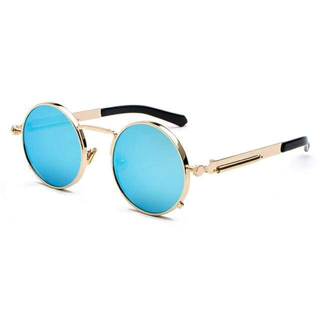 Metal Frame Retro Vintage Steampunk Sunglasses - gold with bluemirror / as show in photo