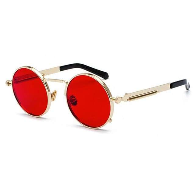 Metal Frame Retro Vintage Steampunk Sunglasses - gold with clear red / as show in photo