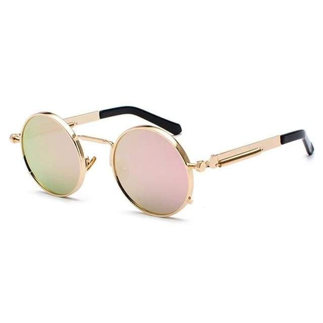 Metal Frame Retro Vintage Steampunk Sunglasses - rose gold / as show in photo