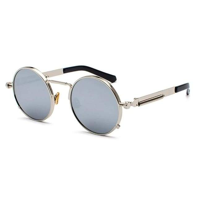 Metal Frame Retro Vintage Steampunk Sunglasses - silver mirror / as show in photo