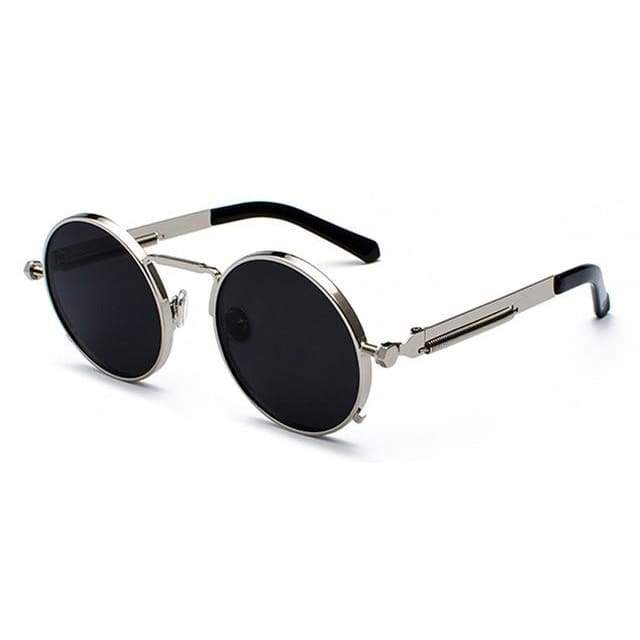 Metal Frame Retro Vintage Steampunk Sunglasses - silver with black / as show in photo