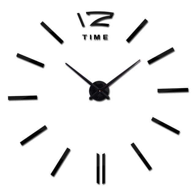 Metallic 3D Acrylic Quartz Wall Clock - Black / 37inch