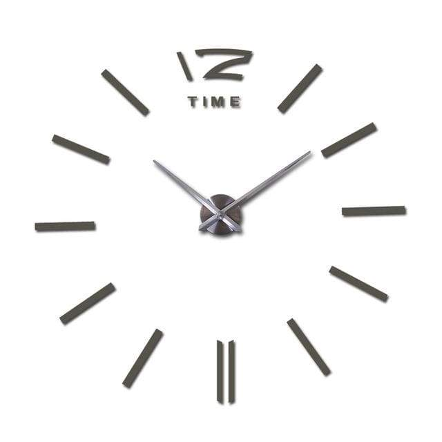 Metallic 3D Acrylic Quartz Wall Clock - Dark Gray / 37inch