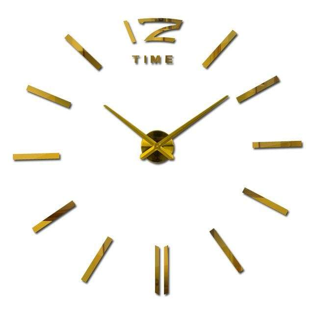 Metallic 3D Acrylic Quartz Wall Clock - Gold / 37inch
