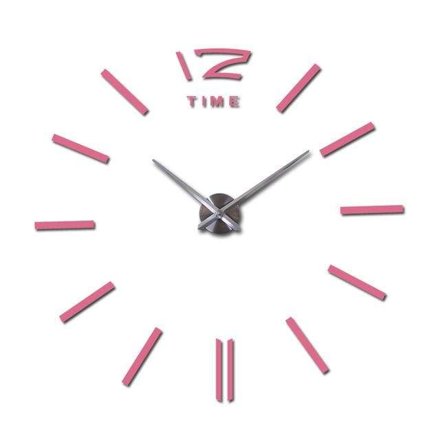 Metallic 3D Acrylic Quartz Wall Clock - Pink / 37inch