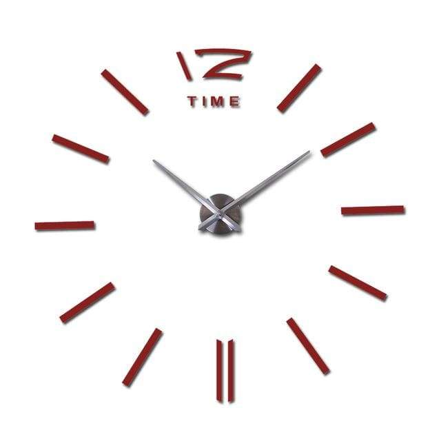 Metallic 3D Acrylic Quartz Wall Clock - Red / 37inch