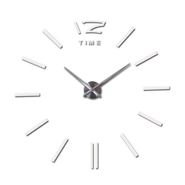 Metallic 3D Acrylic Quartz Wall Clock - White / 37inch