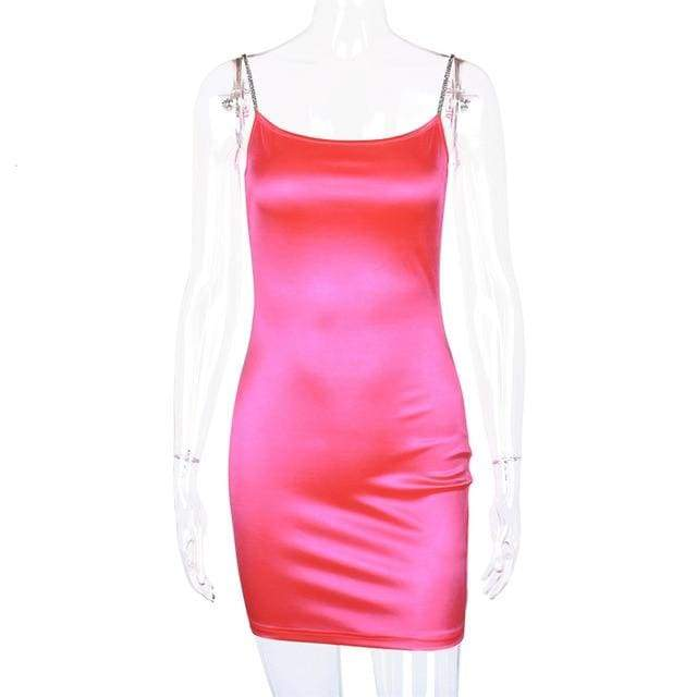 Neon Pink Silk Spaghetti Strap Dress - Pink / S