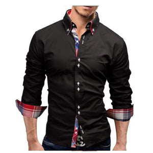 New Mens Slim Fit Long Sleeve Business Dress Shirt - Black shirt / XS