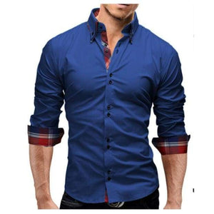New Mens Slim Fit Long Sleeve Business Dress Shirt - Blue shirt / XS