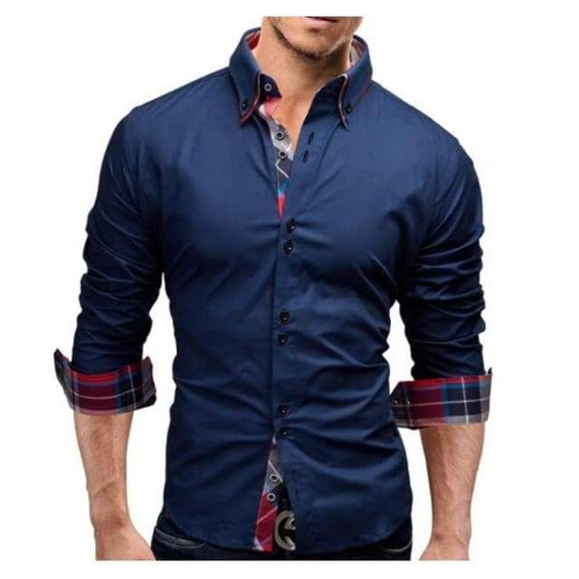 New Mens Slim Fit Long Sleeve Business Dress Shirt - Navy shirt / XS