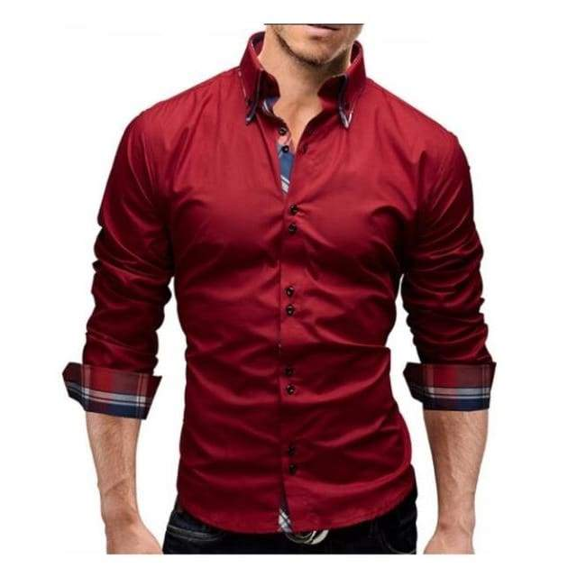 New Mens Slim Fit Long Sleeve Business Dress Shirt - Red shirt / XS