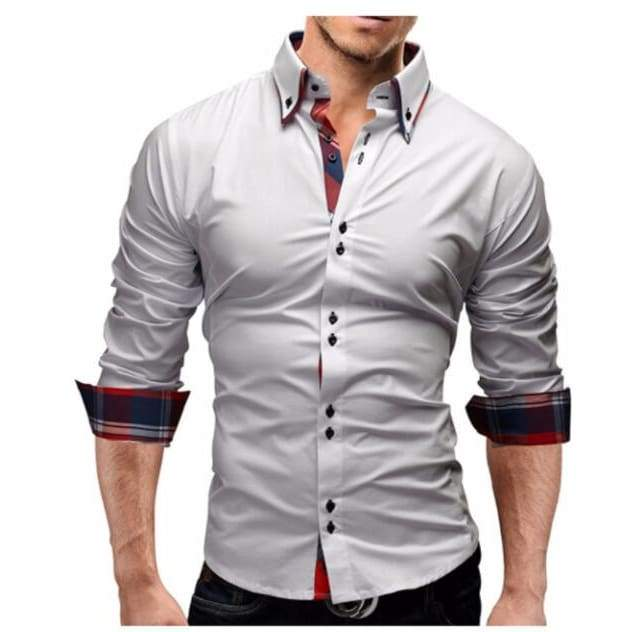 New Mens Slim Fit Long Sleeve Business Dress Shirt - White shirt / XS