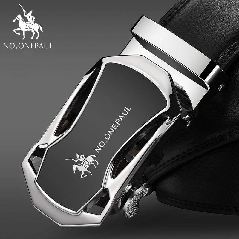 NO.ONEPAUL Automatic Buckle Genuine Leather Belts - CC Silver / 100cm