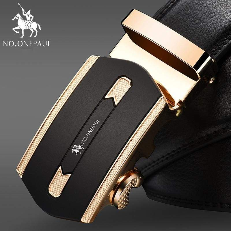 NO.ONEPAUL Automatic Buckle Genuine Leather Belts - SA Gold / 100cm