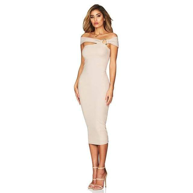 Off Shoulder Hollow Out Bandage Dress - Apricot / XS